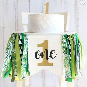 One Year Birthday Banner Jungle/Wild One Theme